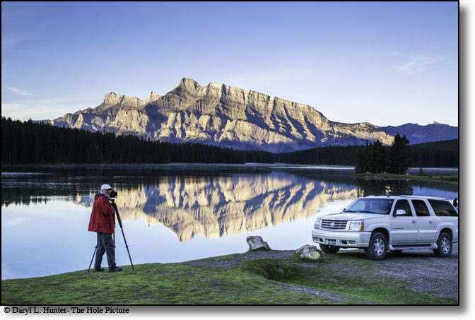 Cadillac Escalade, tour vehicle, two jack lake, banff national Park, alberta, canada