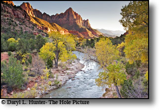 The Watchman, Virgin River, sunset, Zion National Park